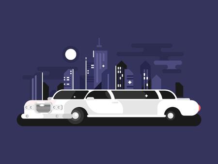 White limousine car on blue background, vector illustration