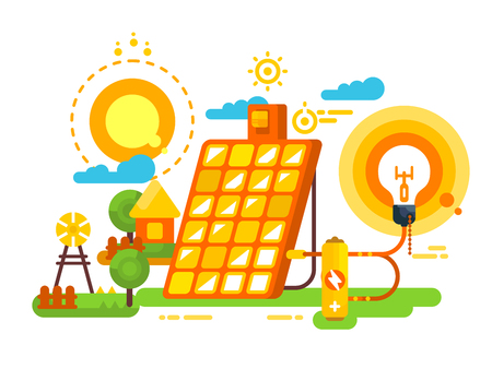 Solar battery for lighting and energy design. Energy and environment, panel power for electricity, vector illustration