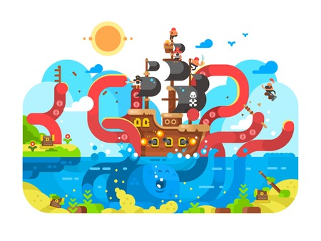 Kraken sea monster and sinks ship design flat. Ocean character squid and monster octopus, vector illustration