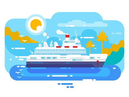 Cruise ship in sea design flat Stock Photo