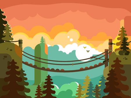 Suspension bridge in jungle design flat. Nature green park, adventure and active travel, vector illustration Stock Illustratie