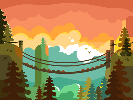 Suspension bridge in jungle design flat. Nature green park, adventure and active travel, vector illustration Vettoriali