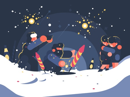 Guys launching fireworks. New Year or Christmas salute. Vector illustration 向量圖像