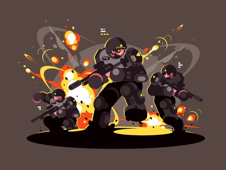 Military infantry soldiers in battle war concept illustration Illustration