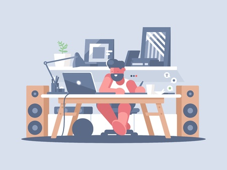 Freelancer works with laptop at home. Remote work of graphic designer. Vector illustration Vettoriali