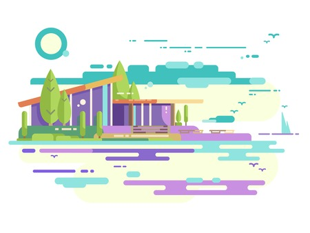 パノラマの窓が付いているモダンな家  イラスト・ベクター素材