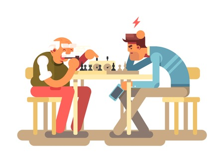 People play chess game Ilustrace