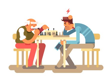 People play chess game. Two man competition playing at chess table, vector illustration Stock Photo