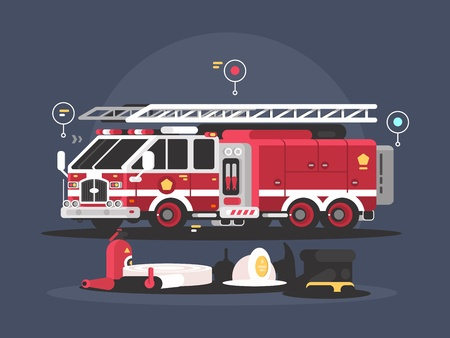 Fire truck and equipment for fire extinguishing. Vector flat illustration