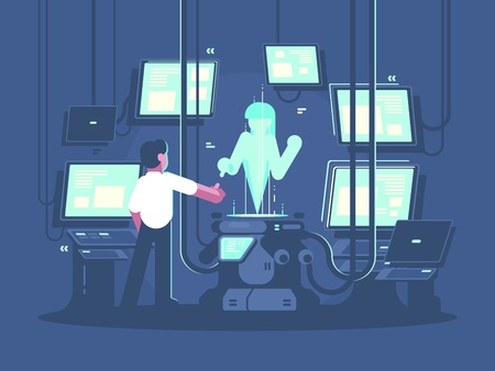 Newest technologies of artificial intelligence. Man communicates with hologram. Vector illustration