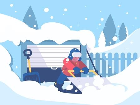 Chico limpia nieve después de nevadas