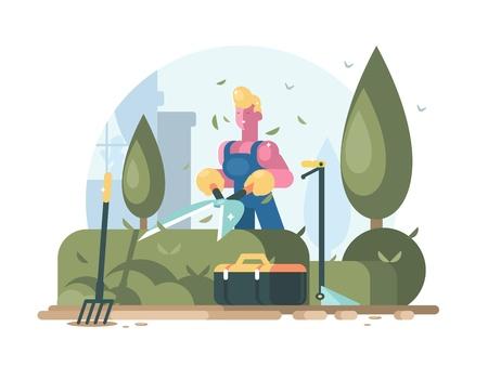 Gardener cuts green bush. Иллюстрация