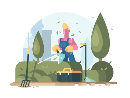 Gardener cuts green bush. Illustration
