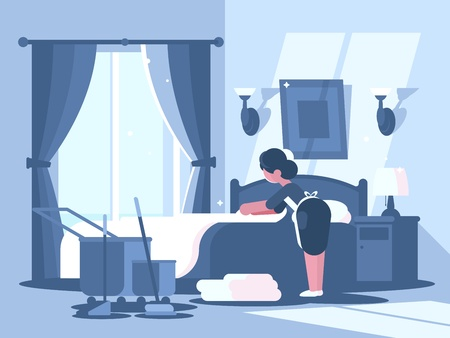 Maid cleaning the room. Illustration