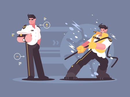 Captain of cruise liner in uniform Vector illustration.