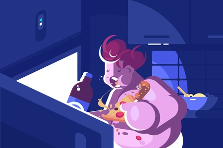 Nightly overeating and gluttony. Girl eating near open refrigerator. Vector illustration