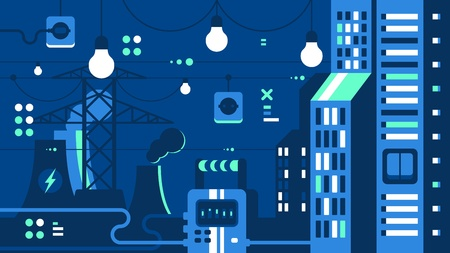 City electricity supply. Power plant produces energy for lighting. Vector illustration
