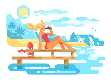 Cute woman lifeguard looking through binoculars. Beach service with a sexual lifesaver flat vector illustration