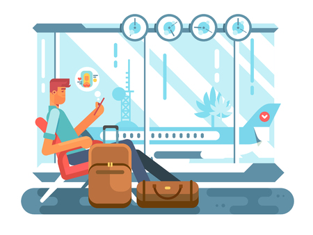Passenger waiting at airport of departure. travel plane and wait in terminal airport, transportation flight, vector illustration Illustration