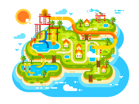 Aquapark plan with water slides