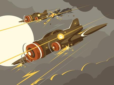 空中戦闘で軍用機