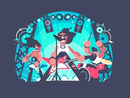 Concert de bande dessinée de rock avec guitare et tambour ensemble . illustration vectorielle Banque d'images - 91712889