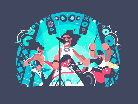 Concert of rock band with guitar and drum set. Vector illustration. Vettoriali