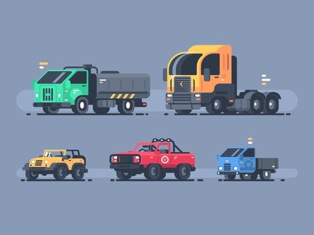 유형 자동차 집합입니다. SUV 및화물 트레일러, 유조선 및 트럭 그림. 일러스트