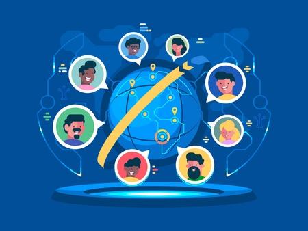 People around the world illustration.  イラスト・ベクター素材