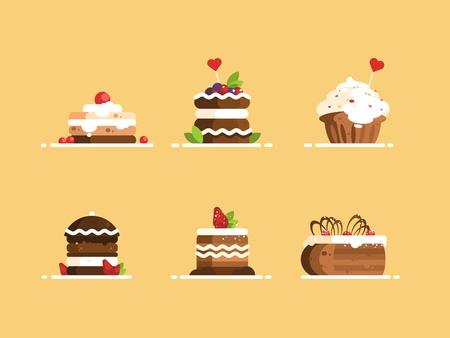 Sweet cake desserts set. Illustration
