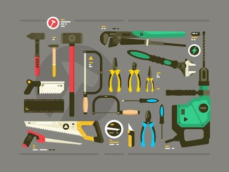 건설 및 수리 도구 집합입니다. 톱 및 망치, 스크루 드라이버 및 펜치. 벡터 일러스트 레이 션 일러스트