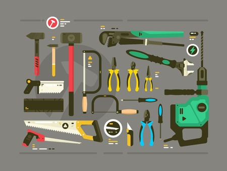 Set of tools for construction and repair. Saw and hammer, screwdriver and pliers. Vector illustration