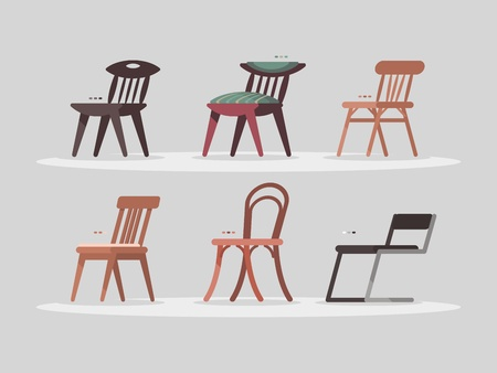 Set of chairs for home and office interior. Illustration