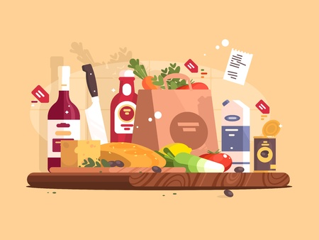 Voedsel en ingrediënten voor het koken.