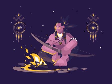 弓を持つキャラクターインド系アメリカ人は、火の近くに夜座っています。ベクトルイラスト。
