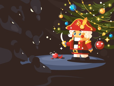 Character of nutcracker on colorful presentation. Vettoriali