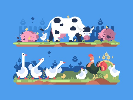 Animals on farm. Cow and pig, goose and chicken. Vector illustration Stock Vector - 92711326