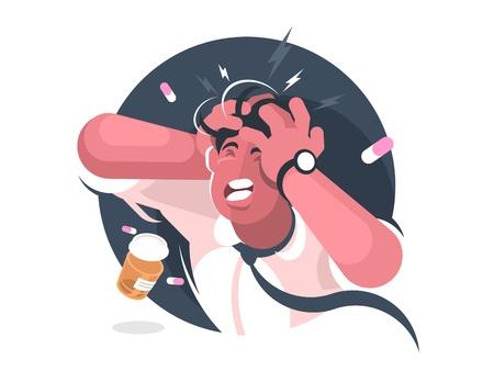 Grimas van de mens met ernstige hoofdpijn. Pijnstillers. Vector illustratie