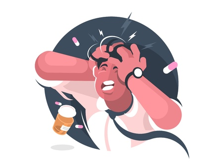 Grimace of man with severe headache. Pain reliever tablets. Vector illustration
