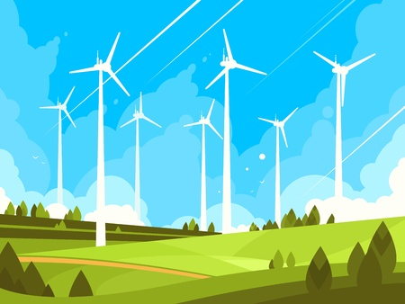 Windmills on green fields. Eco energy in nature. Vector illustration. Ilustração