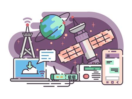 espace satellite pour la communication internet. illustration
