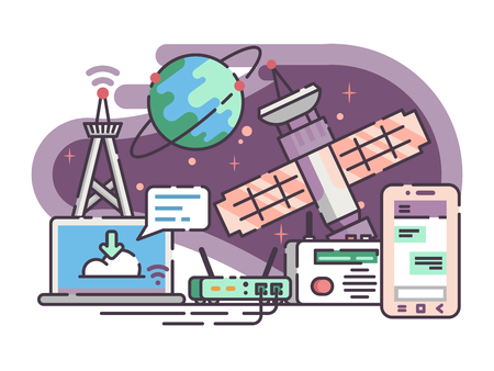 Space satellite for communication internet illustration.
