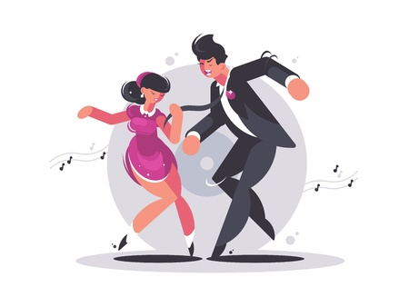 Happy couple of guy and girl dancing Illustration