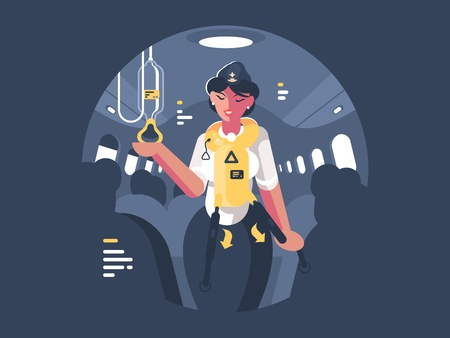 Stewardess explains safety on board aircraft Illustration