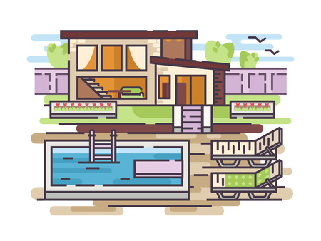 Large country house with swimming pool and relaxation area. Vector illustration