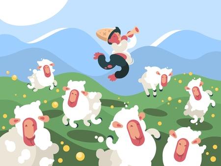 Shepherd grazes herd of sheep Vettoriali