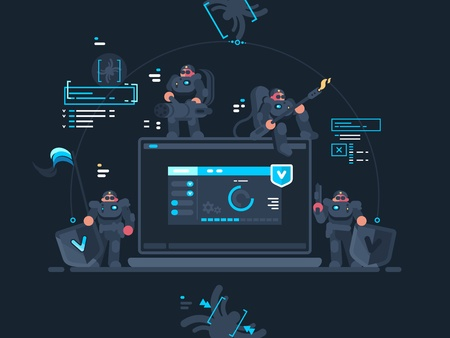 Antivirus computer security. Group of fighters with virus internet. Vector illustration