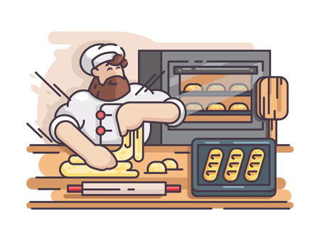 Baker kneads and cooking dough. Cook prepares pastries in kitchen. Vector illustration Çizim