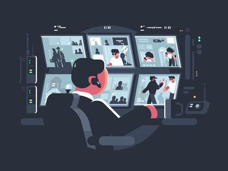 Ochrona obserwująca kamery monitorujące Ilustracje wektorowe