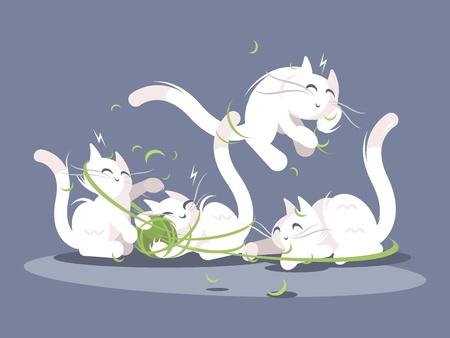 Los gatitos juegan con bola de hilos Foto de archivo - 95627470
